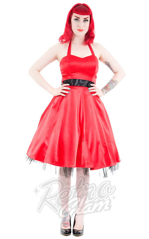 Hearts and Roses Occasion Halter Dress in Red