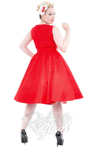 Hearts and Roses Sally Dress in Red back
