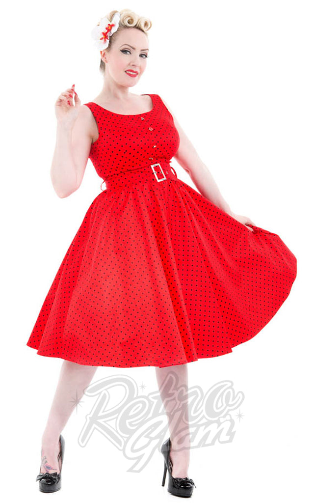 Hearts and Roses Sally Dress in Red