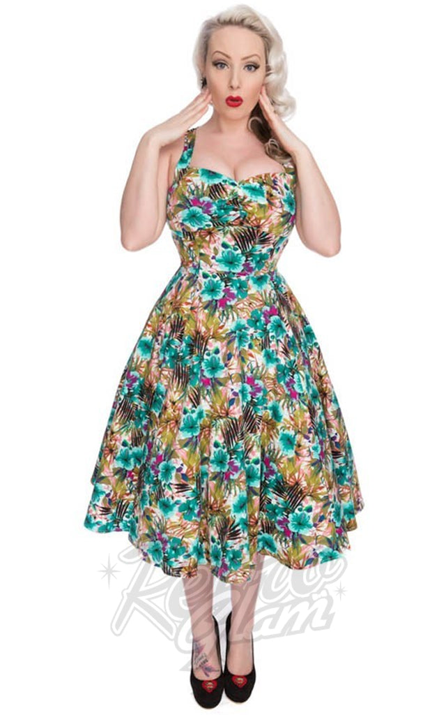 Hearts and Roses Tropical Floral Day Dress