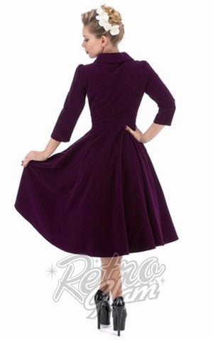 Hearts and Roses Glamorous Tea Dress in Purple Back