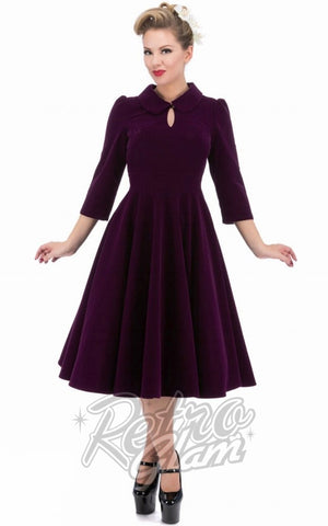 Hearts and Roses Glamorous Tea Dress in Purple
