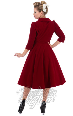Hearts and Roses Glamorous Tea Dress in Red Back