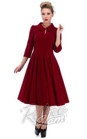 Hearts and Roses Glamorous Tea Dress in Red