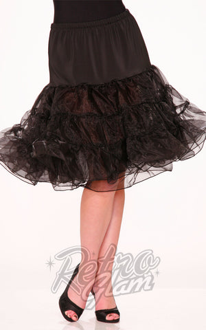 Hearts and Roses 22 inch long Petticoat/Crinoline in Black front