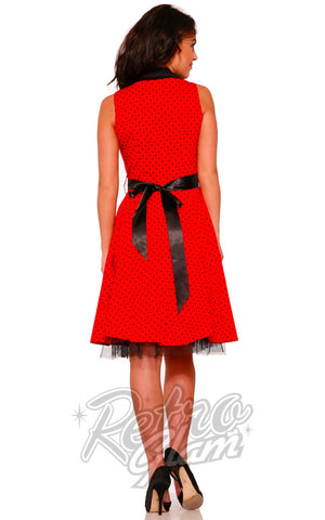Hearts and Roses Waitress Dress in Red with black polka dots back