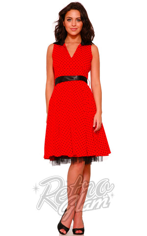Hearts and Roses Waitress Dress in Red with black polka dots front