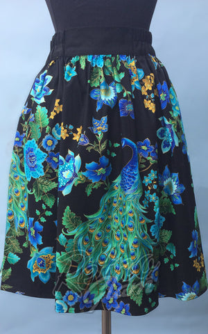 Heart of Haute Gypsy gathered Skirt with elastic band in Peacock Royale Print back