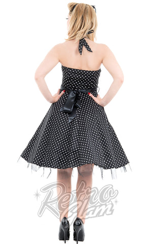 Hearts and Roses Lucy Halter Dress in Black Pindot back