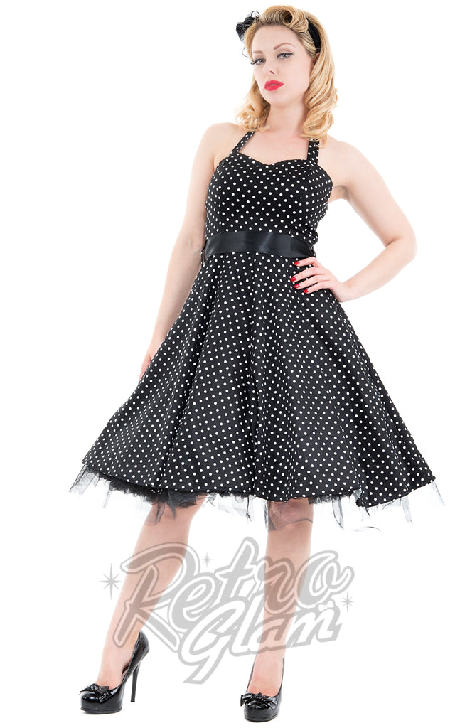 Hearts and Roses Lucy Halter Dress in Black Pindot