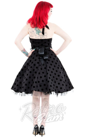 Hearts and Roses Minnie Dress in Black Velvet Dot Back