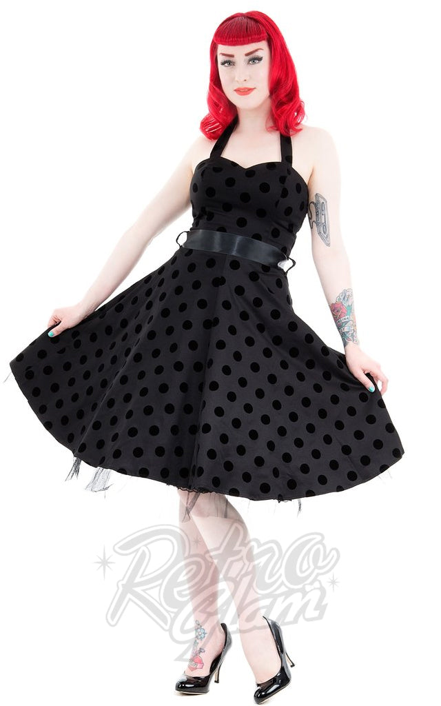 Hearts and Roses Minnie Halter Dress in Black Velvet Dot