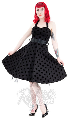 Hearts and Roses Minnie Dress in Black Velvet Dot