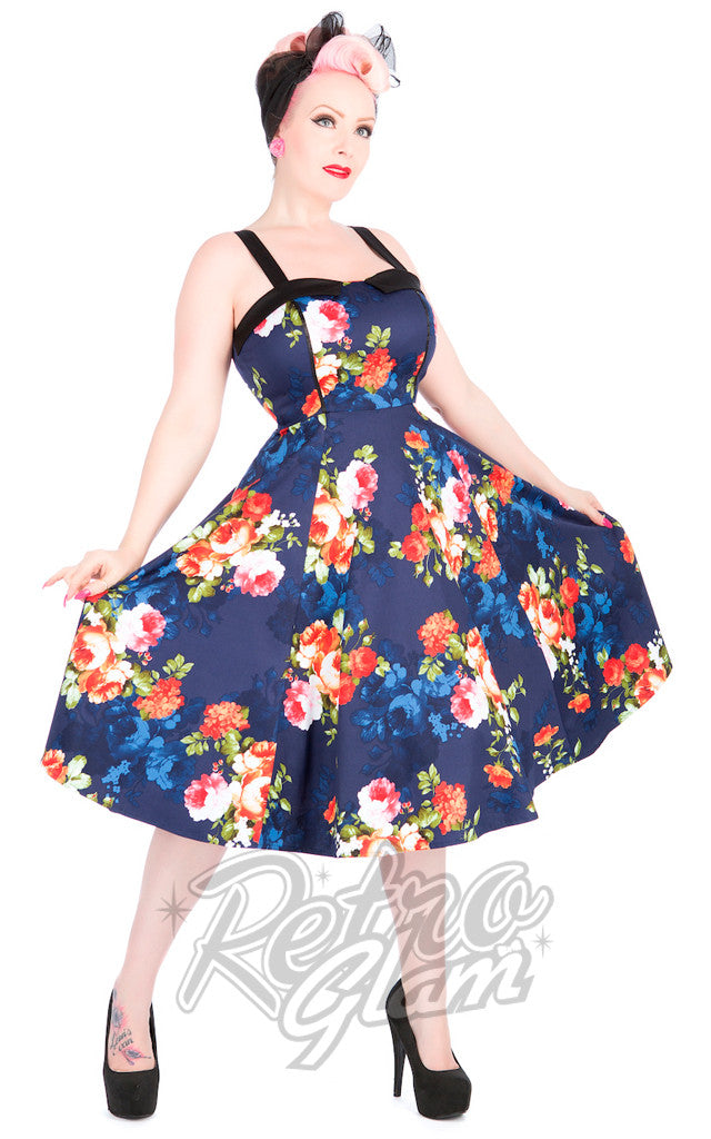 Hearts and Roses Navy Floral Sundress