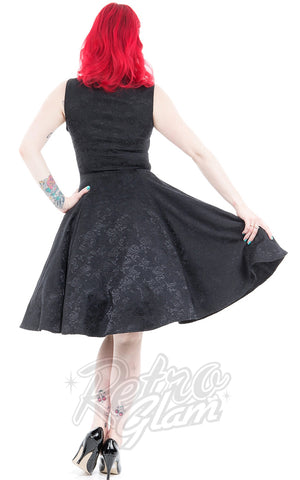 Hearts and Roses Black Rose Brocade Dress Back