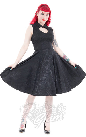 Hearts and Roses Black Rose Brocade Dress