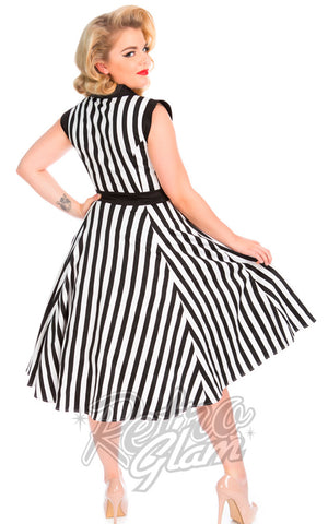 Hearts and Roses Striped Tea Dress in Black and White