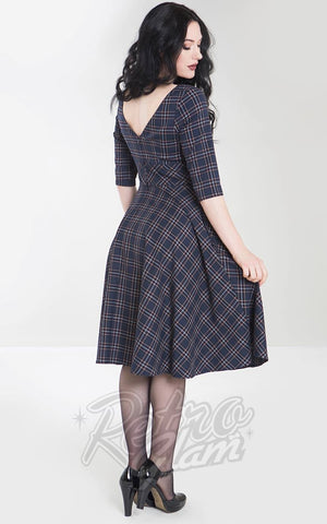 Hell Bunny Peebles 50s Dress in Navy  back