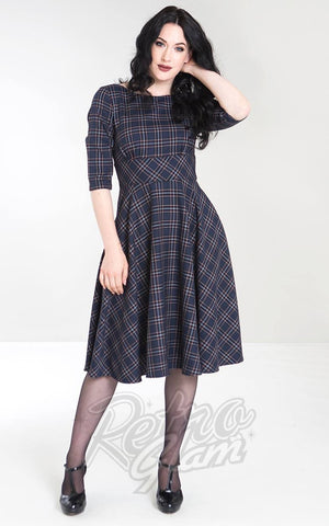 Hell Bunny Peebles 50s Dress in Navy