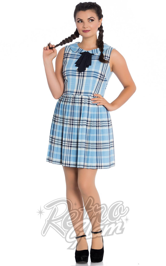 Hell Bunny Aberdeen Mini Dress in Pale Blue