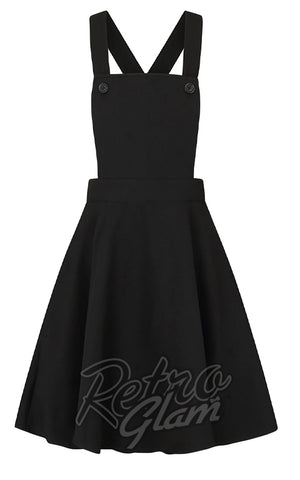 Hell Bunny Amelie PInafore Dress in Black