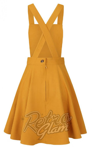 Hell Bunny Amelie PInafore Dress in Mustard back