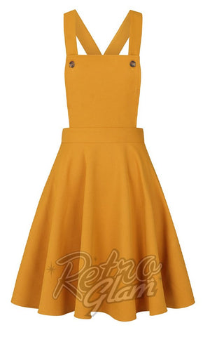 Hell Bunny Amelie PInafore Dress in Mustard