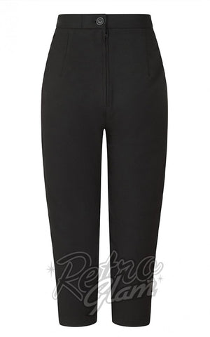 Hell Bunny Amelie Cigarette Pants in Black back