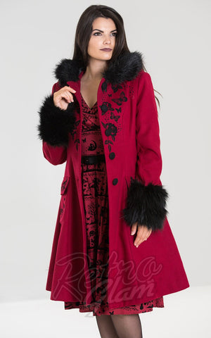 Hell Bunny Anderson Coat in Red winter