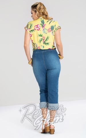 Hell Bunny Austin Blue Denim Capri Pants back