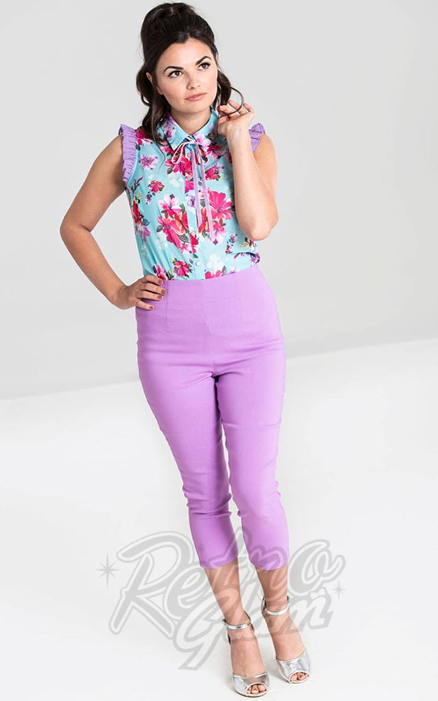 Hell Bunny Tina Capris in Lavender