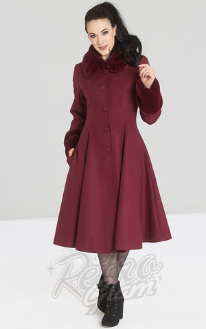 Hell Bunny Cape Coat in Wine