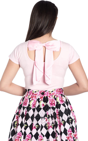 Hell Bunny Celine Top in Pink Back