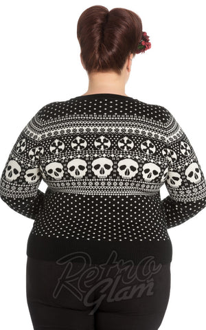 Hell Bunny Clara Cardigan in Black & White curvy back