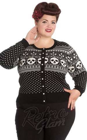 Hell Bunny Clara Cardigan in Black & White curvy