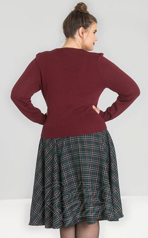 Hell Bunny Connie Jumper in Burgundy curvy back