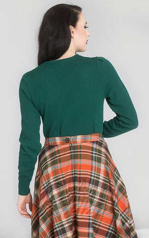 Hell Bunny Connie Jumper in Dark Green back