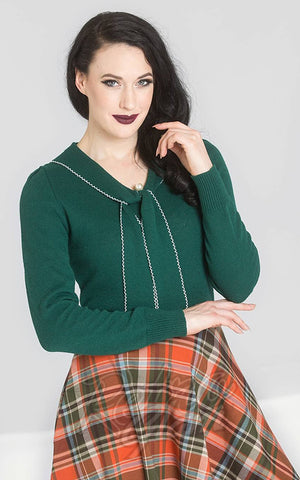 Hell Bunny Connie Jumper in Dark Green