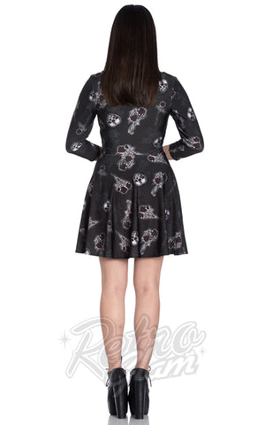 Hell Bunny Dark Valentine Dress back