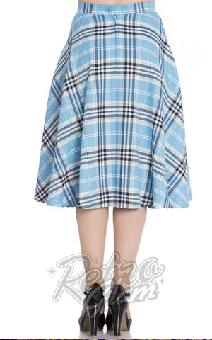 Hell Bunny Dora Lee 50's Skirt in Pastel Blue Plaid back