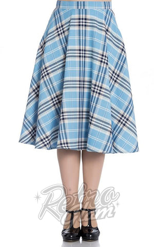 Hell Bunny Dora Lee 50's Skirt in Pastel Blue Plaid