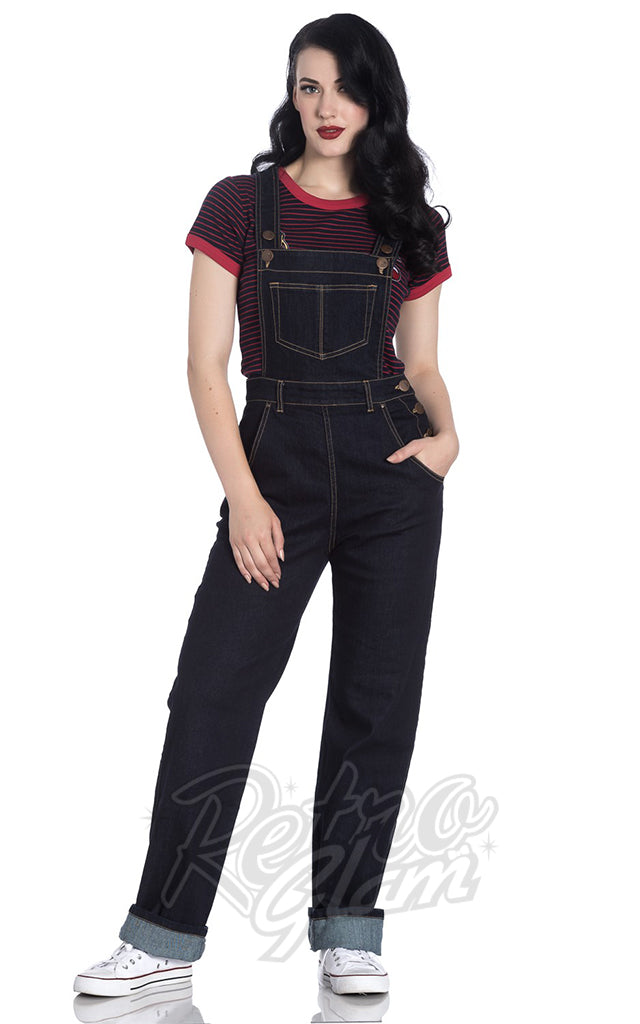 Hell Bunny Elly May Navy Denim Dungarees
