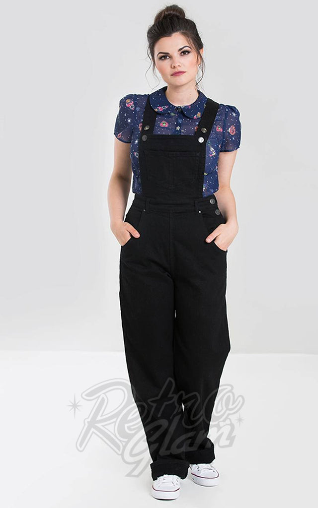 Hell Bunny Elly May Black Denim Dungarees