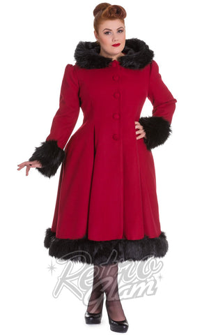 Hell Bunny Elvira Coat in Burgundy Curvy
