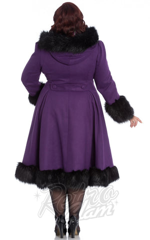 Hell Bunny Elvira Coat in Purple curvy back