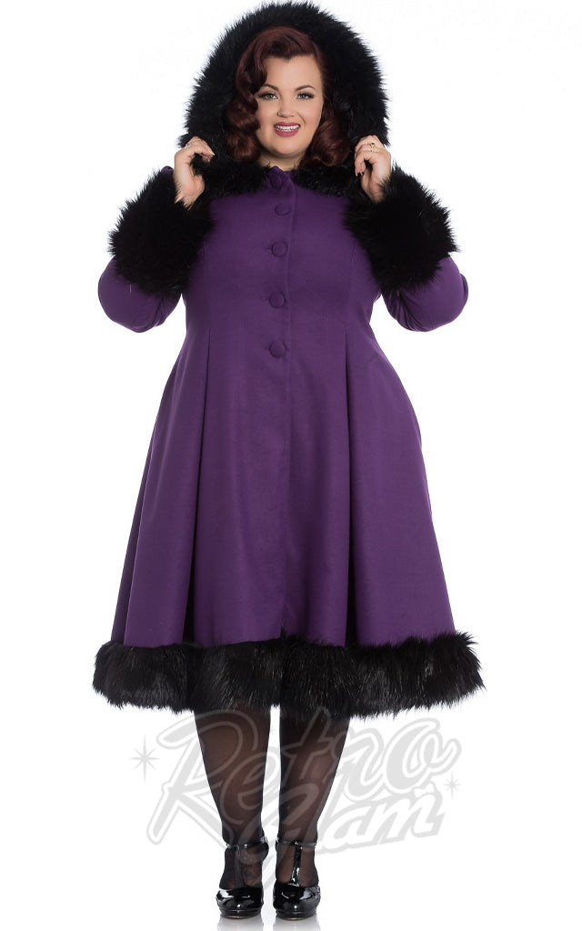 Hell Bunny Elvira Coat in Purple