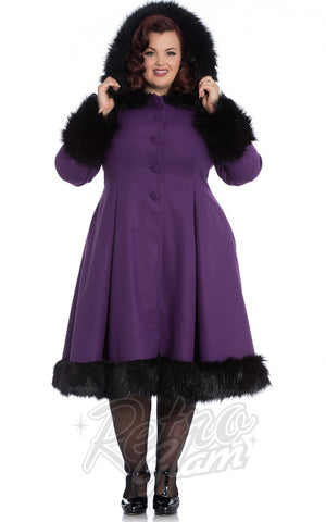 Hell Bunny Elvira Coat in Purple curvy