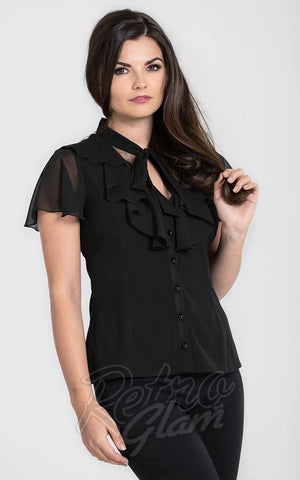 Hell Bunny Evanora Blouse in Black