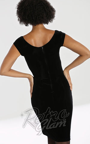 Hell Bunny Film Noir Velvet Pencil Dress back