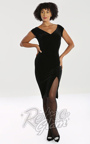 Hell Bunny Film Noir Velvet Pencil Dress